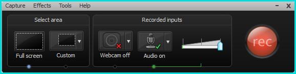 Панель программы для записи видео
